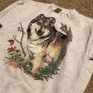 Vintage Wolf Picture Crew Neck Sweater Large